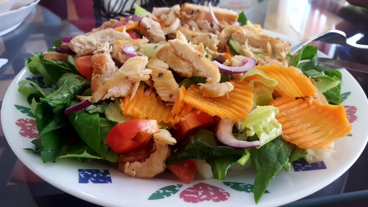 Grilled Chicken Salad Food Ready-to-eat Food And Drink Plate Salad Close-up Healthy Eating Serving Size Indoors  Day Freshness