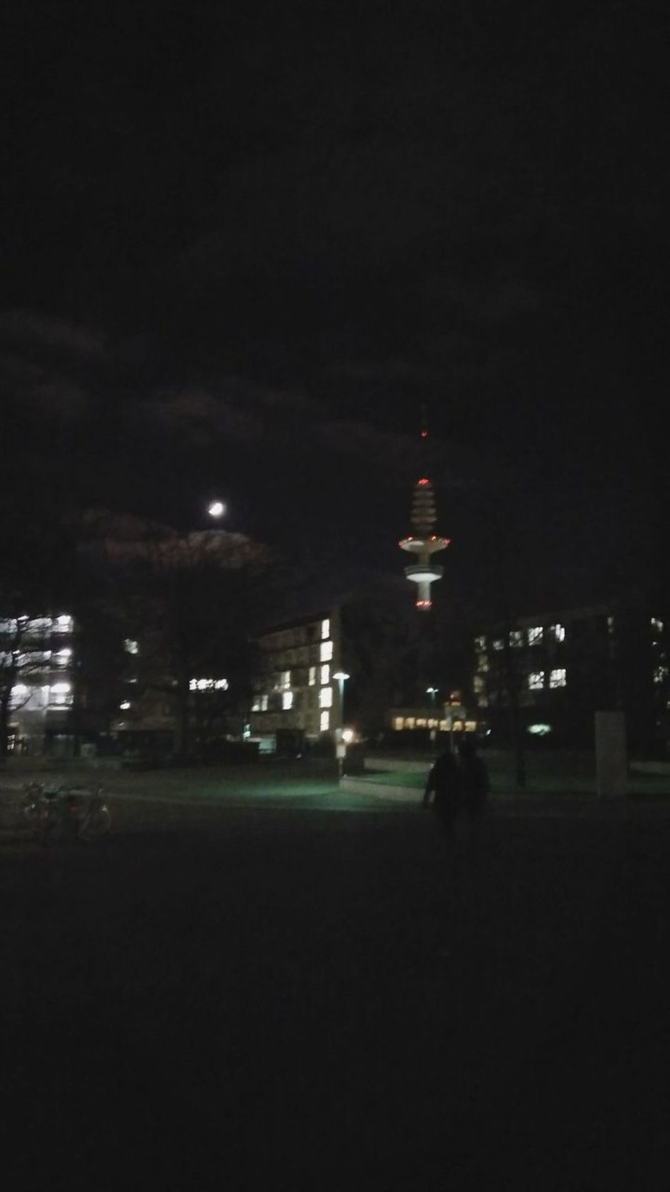 University Campus Collage with Heinrich-Hertz-Turm, Moon, and People. · Hamburg Germany 040 Hh Messeturm Universität Hamburg Urban Landscape City Lights Night Lights Night Photography Portrait Mode Low Quality