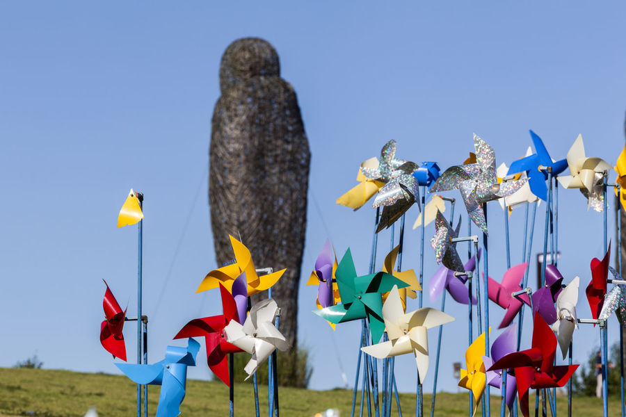 Blue Clear Sky Conformity Day Famous Place History Imjingak In A Row Large Group Of Objects Multi Colored No People Order Outdoors Park Pinwheel Pyeonghoa-Nuri Sculpture Spinning Tranquility