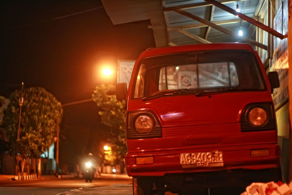 daily life Car Commercial Land Vehicle Headlight Illuminated Land Vehicle Mode Of Transport Night Outdoors People Red Transportation Truck