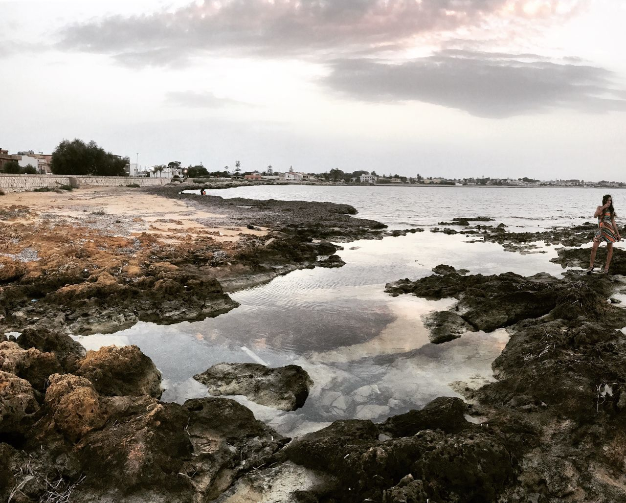 water, sky, cloud - sky, rock - object, nature, outdoors, sea, day, beauty in nature, scenics, real people, one person, people
