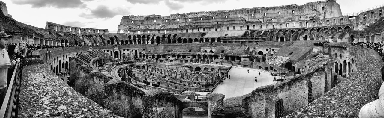 history, architecture, built structure, old ruin, ancient, the past, large group of people, travel destinations, tourism, ancient civilization, archaeology, travel, sky, building exterior, outdoors, panoramic, day, real people, nature, people