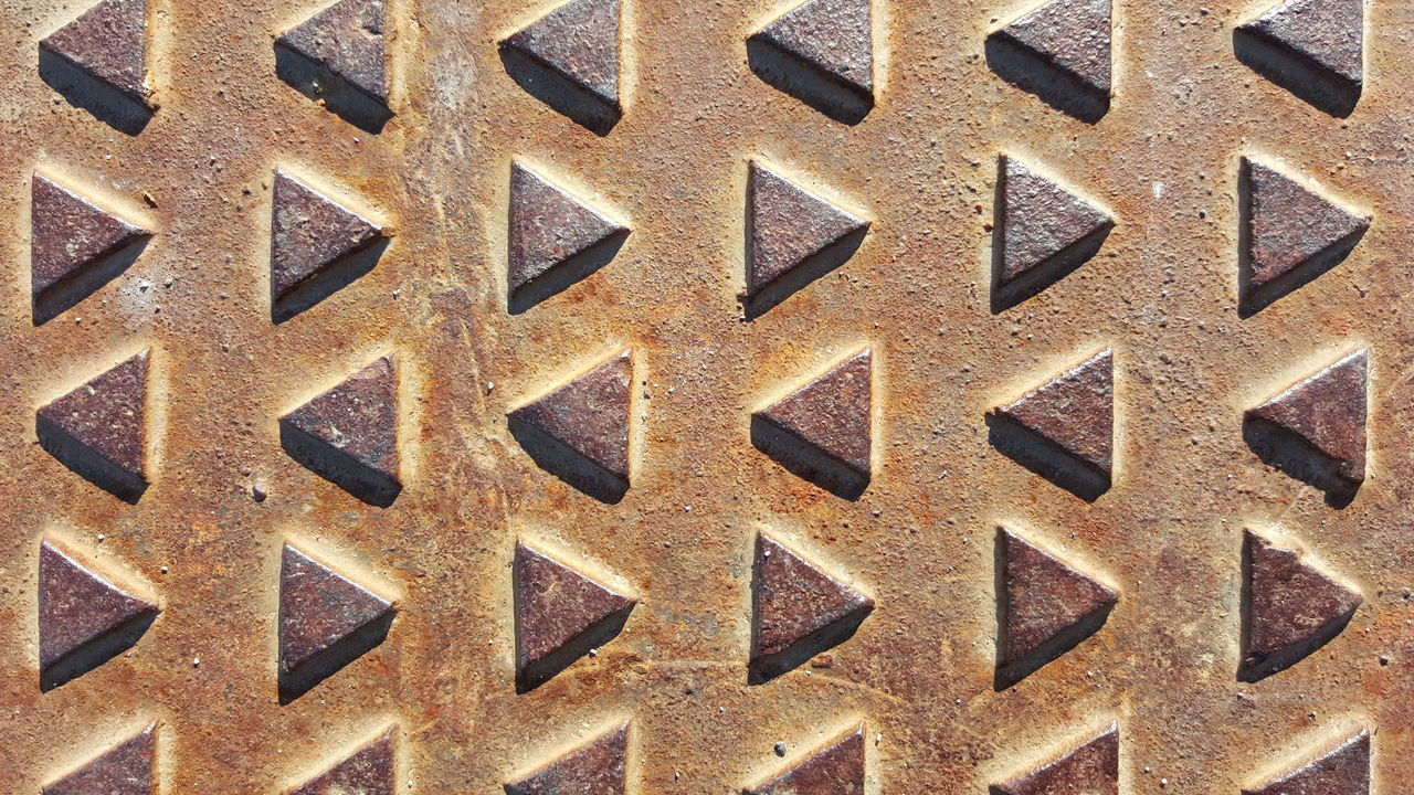Manhole Cover Array Of Triangles Triangles Cast Iron Strong Shadow