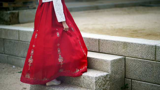 Red Vibrant Color Red Color Focus On Foreground Day Hanbok Korea Traditional Dress Stairs Traditional Dress Traditional Clothing Outdoors Calm