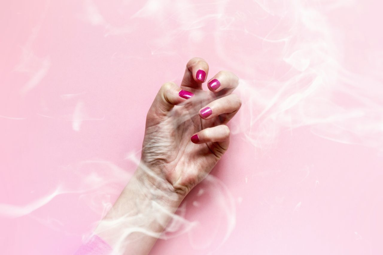 Pink Color Human Body Part One Person Only Women People One Woman Only Adult Pink Background Adults Only Close-up Smoke Smoked Out Atmosphere Communication Hand Arm Smokey Body Language One Hand Human Hand Powerful Power Fingers Nails Woman Hand BYOPaper!