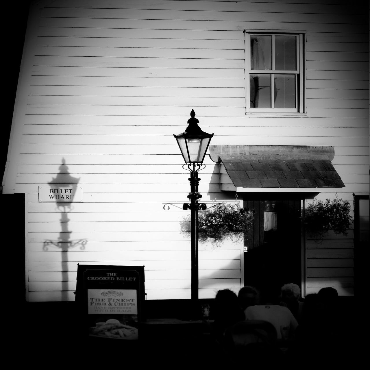 Architecture Black And White Building Crooked Billet Dark Essex Illuminated Lamp Lantern And Shadow Leigh On Sea Night Time No People Old Fashioned Old Leigh Paula Puncher Reflected Shadow Ship Lap Street Light Wooden House