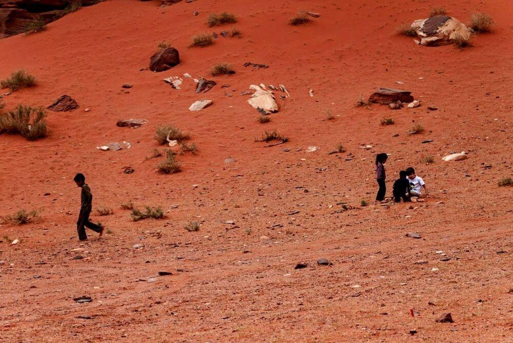 The Human Condition in the Wadi Rum desert, Jordania. Bedouins children. Jordania  Hello World Desert Red Sand Nature Culture Taking Photos Freezing The Moment