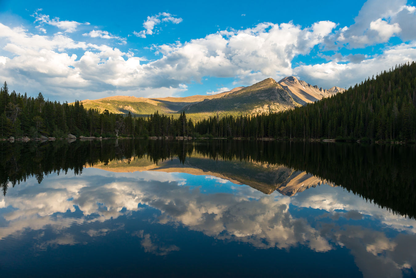 Longs Peak reflected in Bear Lake, Rocky Mountain National Park. Bear Lake Colorado Colorado Photography Estes Park, CO Nature Nature Photography RM Rocky Mountain National Par Water Reflections Beauty In Nature Clear Day Clouds And Sky Longs Peak Mountains Mountains And Sky Naturelovers No People Rocky Mountains EyeEmNewHere