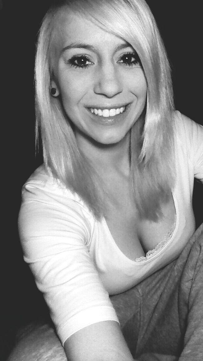 Blackandwhite Blonde Hair & Brown Eye Smile Hashtagram