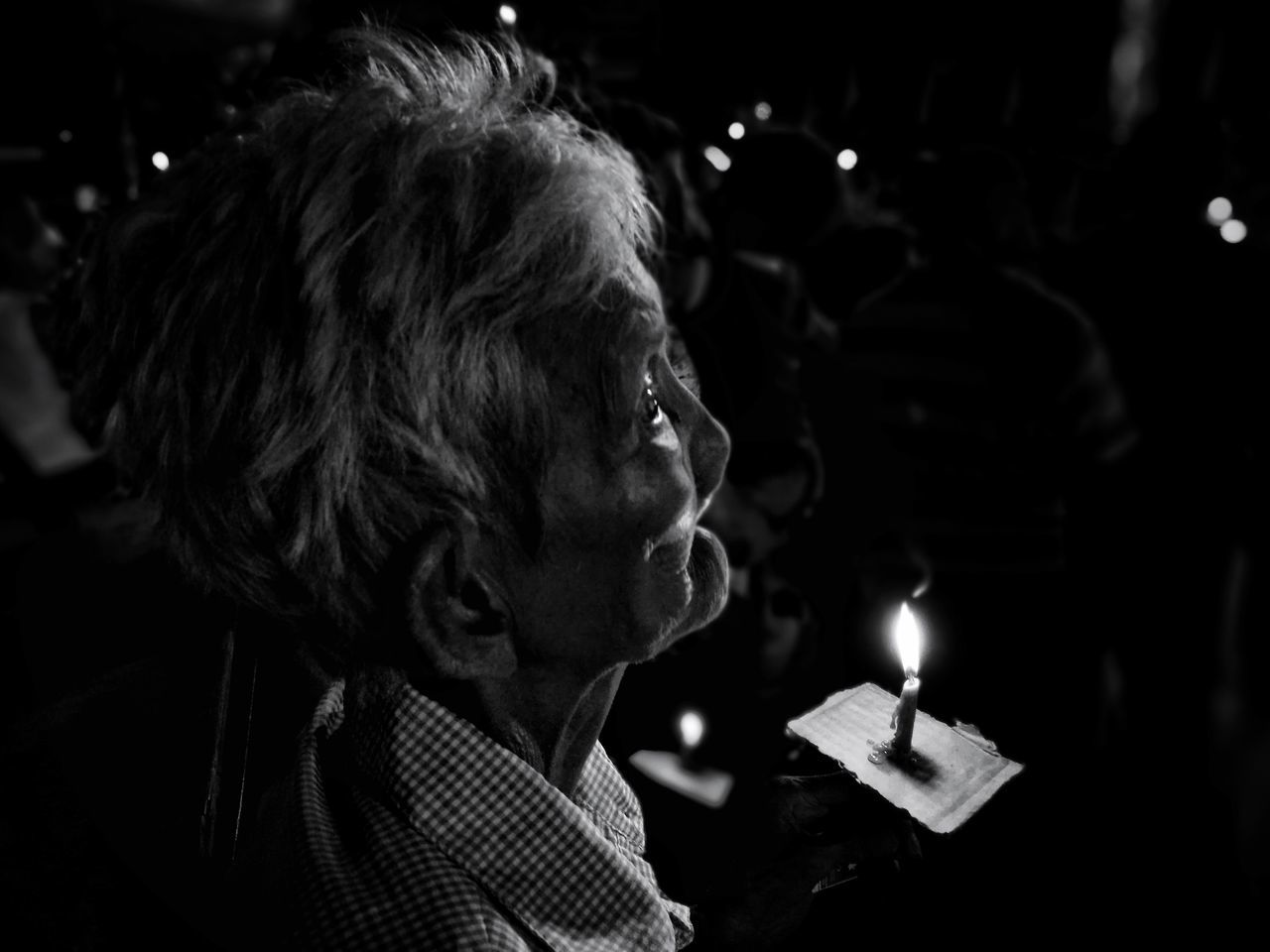 One Woman Only Only Women One Person Night Adults Only Short Hair Headshot Adult People Focus On Foreground Real People Women Close-up Illuminated Streetphoto_bw Streetphotography Eyeem Philippines Faith The Portraitist - 2017 EyeEm Awards The Street Photographer - 2017 EyeEm Awards The Photojournalist - 2017 EyeEm Awards This Week On Eyeem BYOPaper!
