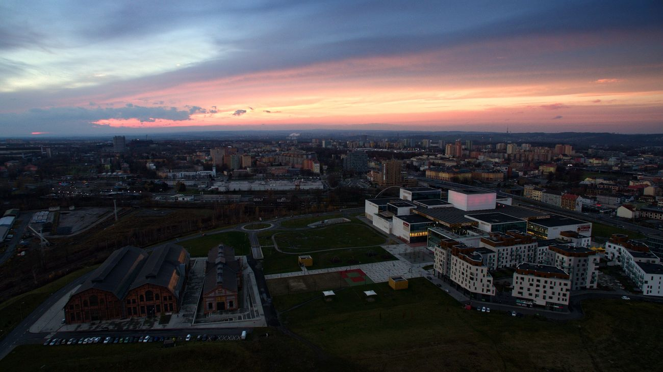 Aerial Photography Aerial Shot Aerial View Architecture Building Exterior City Cityscape Cloud - Sky Drone  Dronephotography Illuminated Night No People Ostrava Outdoors Phantom 3 Sky Sunset Travel Destinations