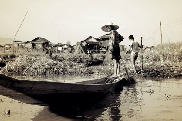 monochrome at Lake Inle by Henrique Santos
