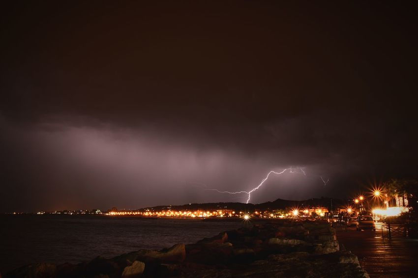 Night Lightning Thunderstorm Sky Cityscape Nature City Extreme Weather Italy Adriatic Sea