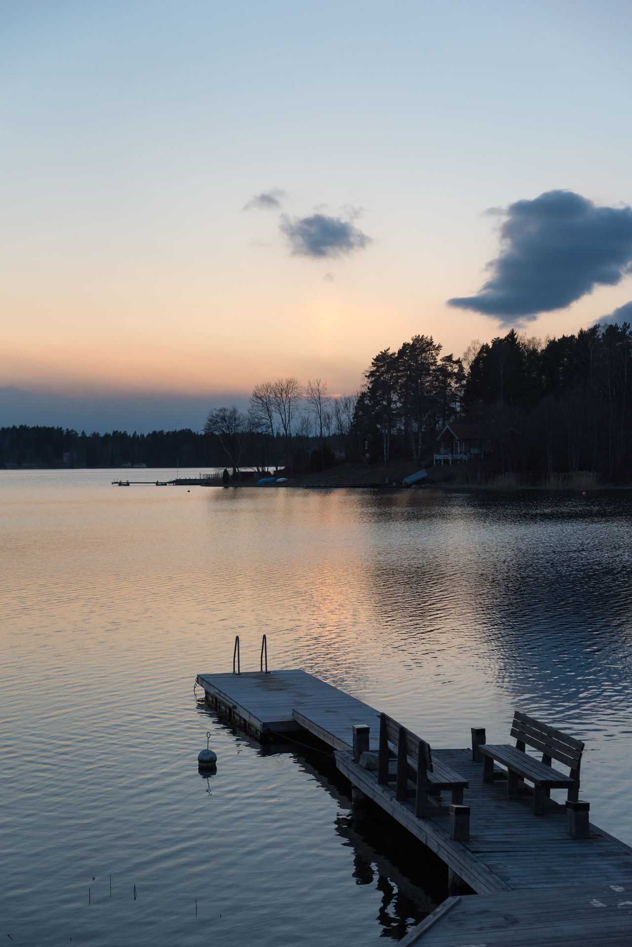 Sunset over a peaceful bay in the Stockholm archipelago. Beauty In Nature Bird Day Jetty Lake Nature No People Outdoors Pier Scenics Silhouette Sky Sunset Tranquil Scene Tranquility Tree Water