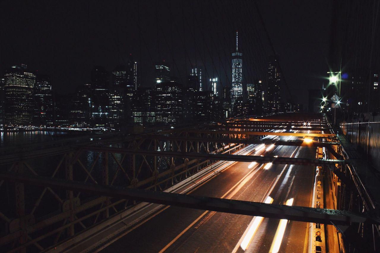 New York Architecture City Built Structure Transportation Cityscape Skyscraper Night Light Trail Urban Skyline