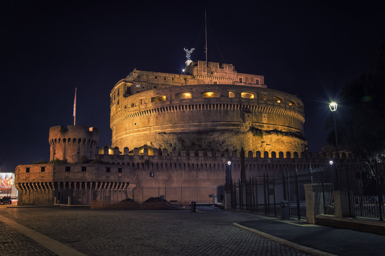 Castel Sant'Angelo Antique Beautiful Castle Castel Sant'Angelo Castle Itay Night Night Lights Romantic Urban Nikon D5500