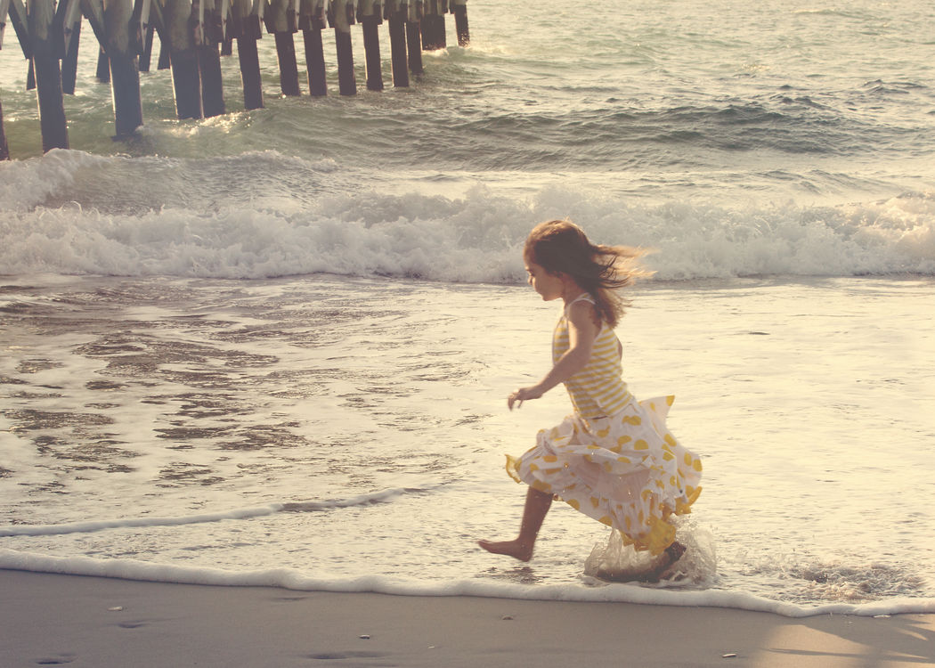 Life is Good Beach Beachphotography Getting Wet Getting Wet Feet Girl Ocean Photography Oceanic Pier Pier Polka Dots  Portrait Of A Young Girl Saltwater Sunlight And Shadow Wrightsville Beach NC Live For The Story