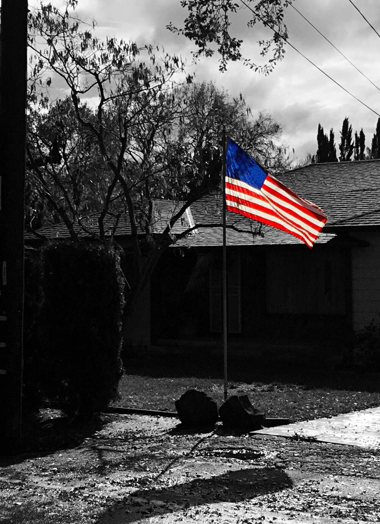 """""""Suburban America"""" The American flag flies proudly in the front yard of a suburban home in Northern California. American American Flag America Suburbia Suburban Suburban Landscape Blackandwhite Black And White Blackandwhite Photography Selective Color"""