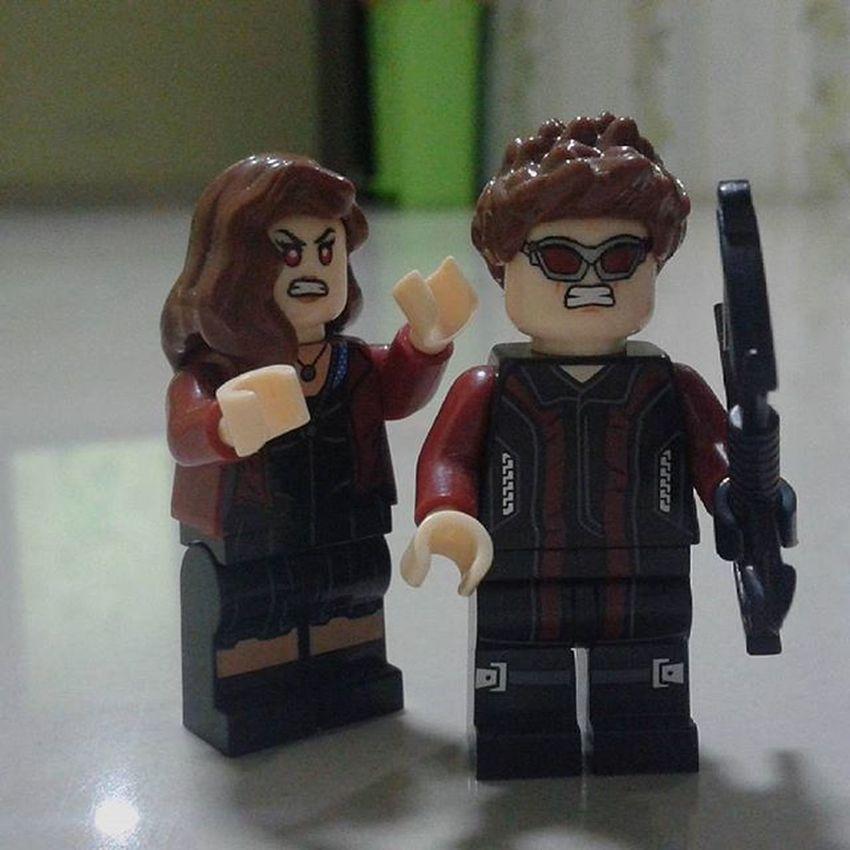 stop messing with my mind . . . . ScarletWitch Wandamaximoff Hawkeye Clintbarton Marvel LEGO Minifigures