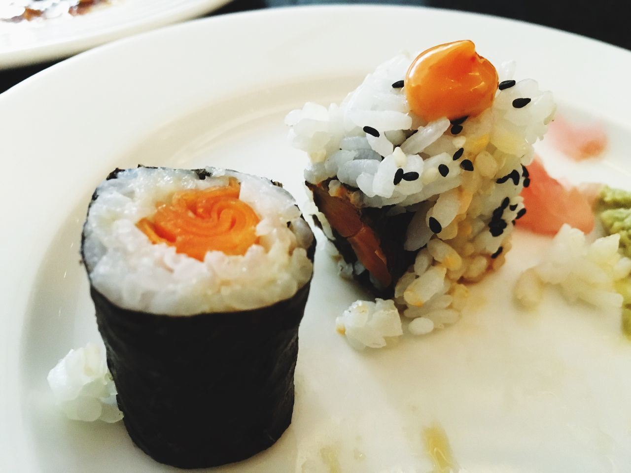 food and drink, plate, food, ready-to-eat, rice - food staple, freshness, healthy eating, close-up, serving size, sushi, no people, indoors, seafood, day