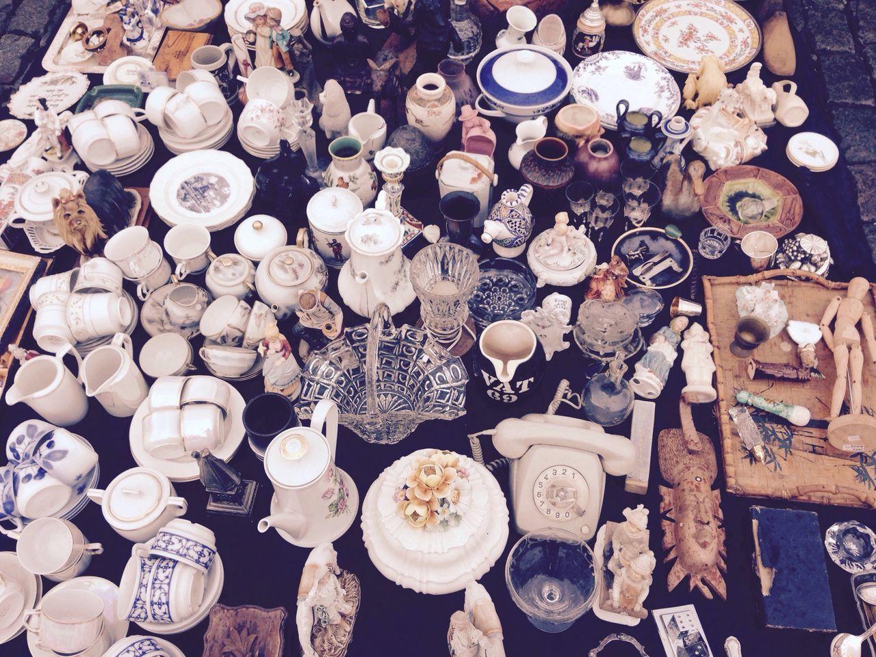 High Angle View Of Various Ceramics Displayed At Street Market