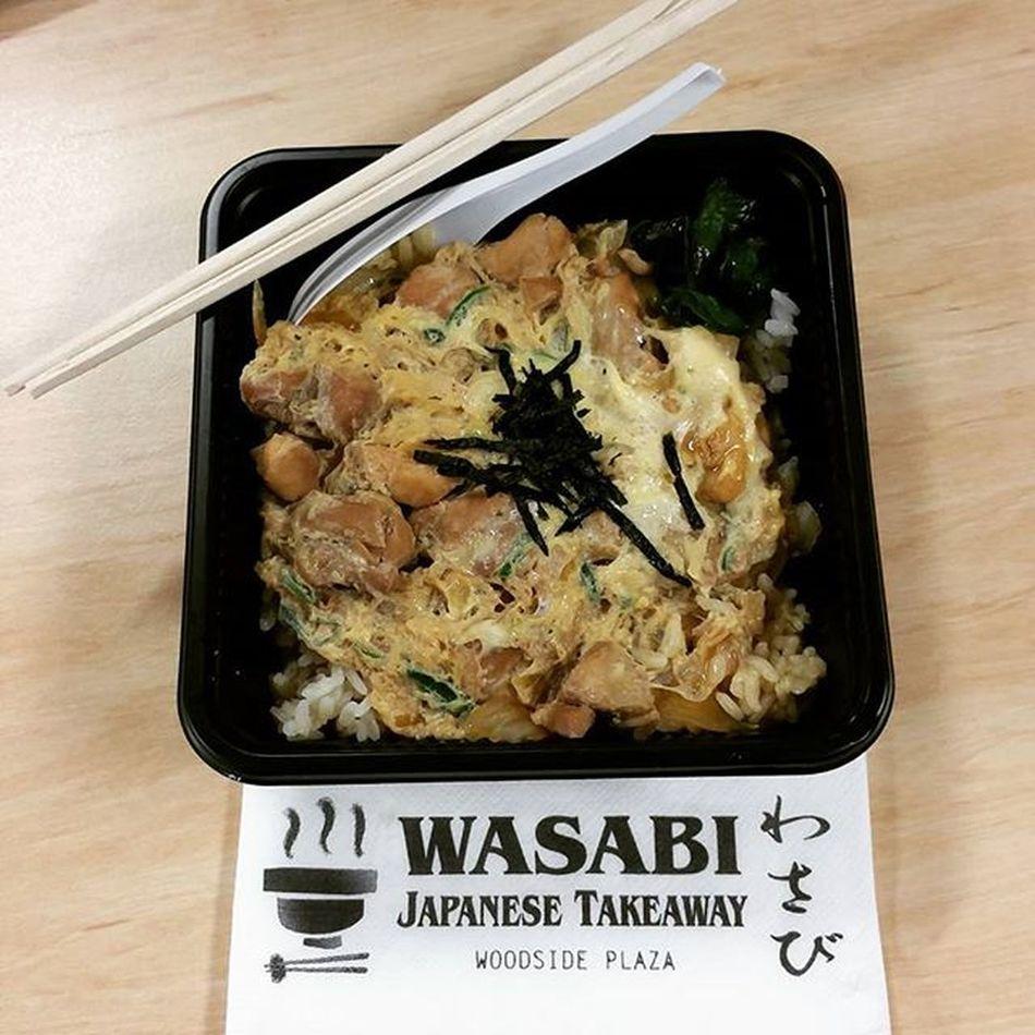 Had takeaway lunch in the office. Oyakodon it is. Simple yet so tasty. Oyakodon Wasabijapanesetakeaway Japanese  Takeaway lunchintheoffice woodsideplaza