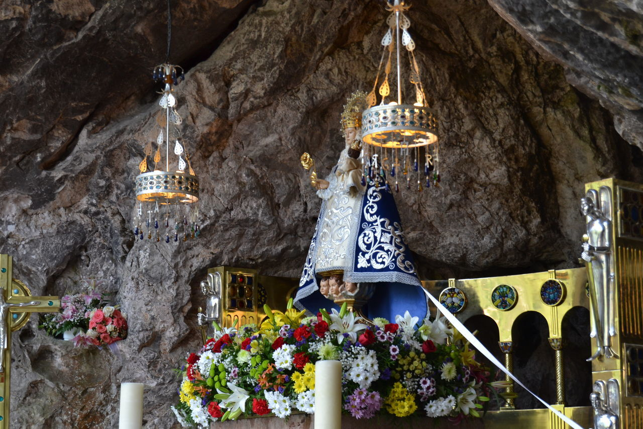 Architecture Catholic Cave Church Covadonga Day Festivities Hanging Hermita Horizontal Illuminated Low Angle View Mary Mass No People Outdoors Religion Saint Virgin  Virgin Mary