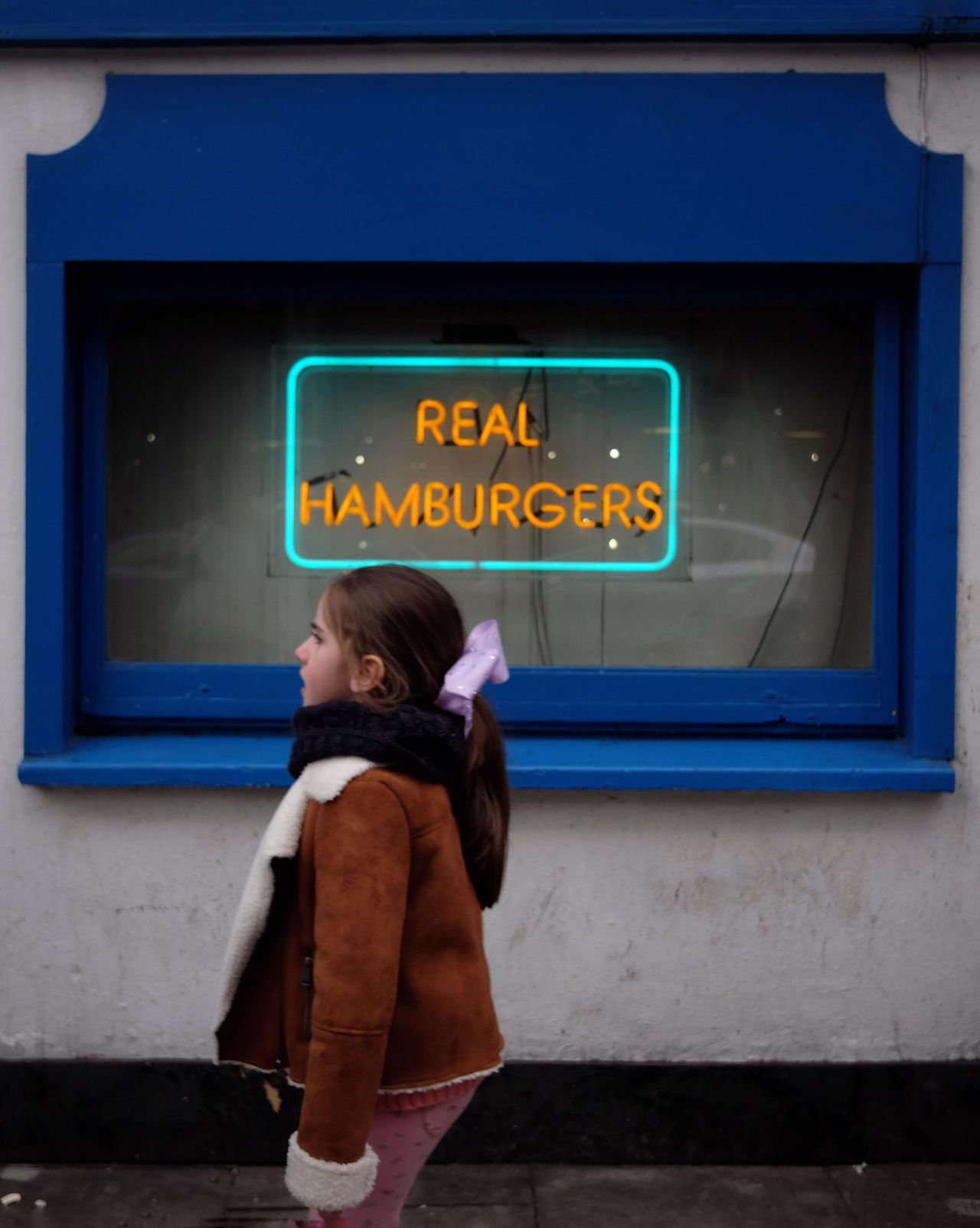 One Person Childhood Children Only One Boy Only Illuminated Outdoors People Night Neon Hamburger Child
