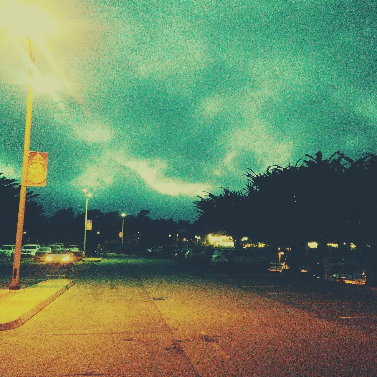 tree, sky, no people, street, road, street light, cloud - sky, illuminated, outdoors, night, nature, architecture, city
