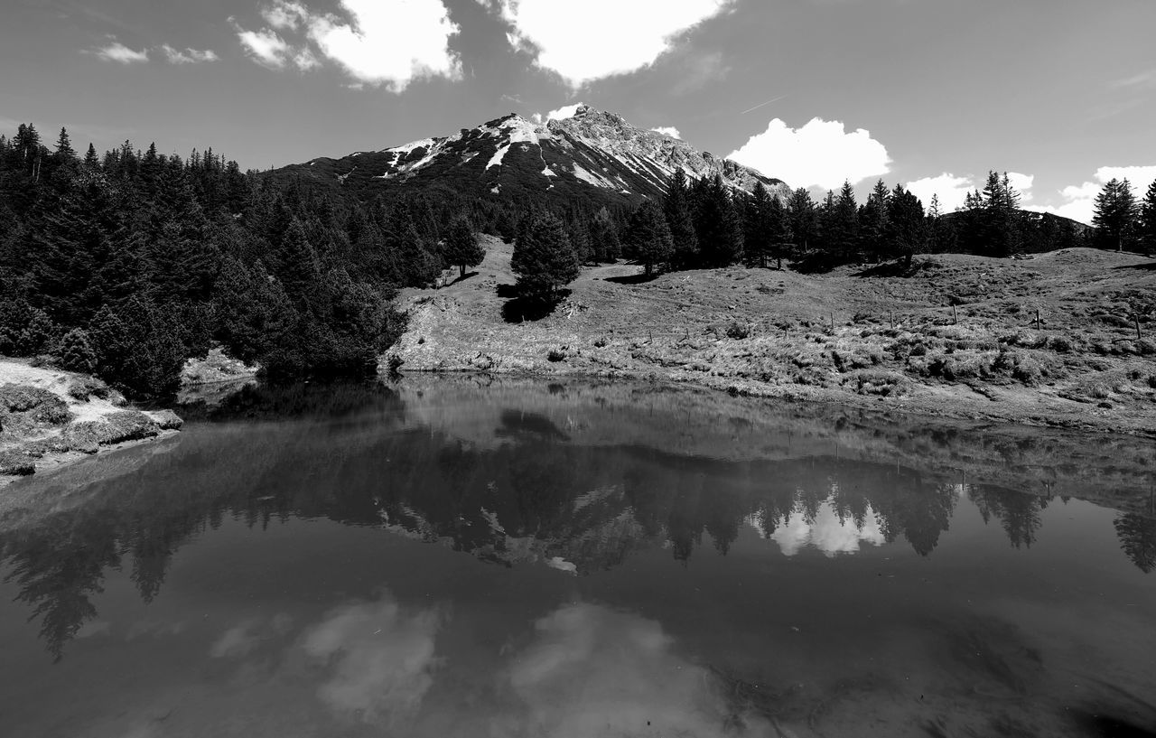 On Earth as it is in Heaven Beauty In Nature Black And White Photography Cloud - Sky Heaven On Earth Hiking Trail Lake Landscape Liechtenstein Liechtensteiner Bergwelt Malbun Mountain Nature No People Olympus OM-D E-M1 Mark II Outdoors Reflection Saas-See Scenic View Scenics Sky Tranquil Scene Tranquility Travel Destinations Triesenberg Water