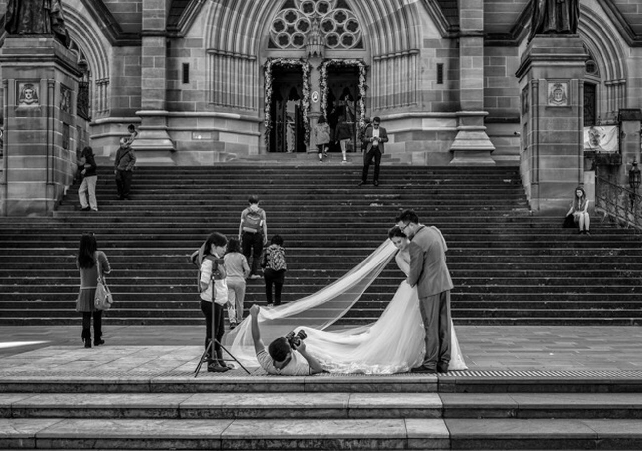 Getting the Shot Australia Sydney Nsw Streetphoto_bw Streetphotography Monochrome Blackandwhite People Candid Fashion Style Wedding Photography Wedding Dress Couple Love FujifilmXPro2 Xf35mmf2 Fujiusers