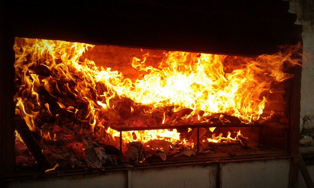 Heat - Temperature Flame Burning Wood - Material No People Indoors  Close-up Day On Fire Fire