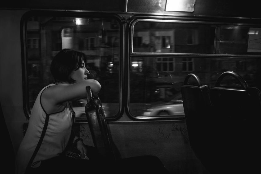 One Person Adult One Woman Only Woman Check This Out Portrait Photo Travel Urban Life Street Photography Monochrome Black And White Blackandwhite Photography The Week On EyeEm Streetphotography Outdoors Real People Night Bus Transportation Tbilisi Georgia Black & White Friday Second Acts