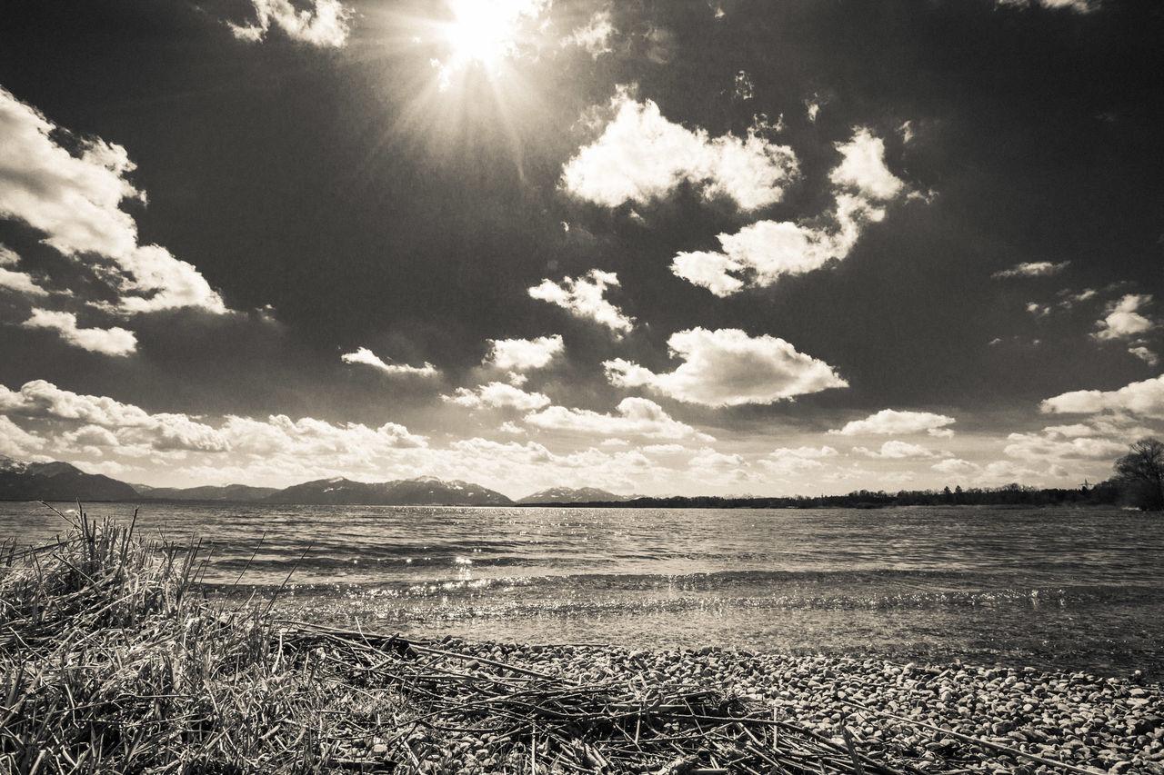 Beach Beauty In Nature Black & White Blackandwhite Cloud - Sky Day EyeEm Best Shots EyeEm Gallery EyeEm Nature Lover Lake Landscape Nature No People Outdoors Sand Scenics Sky Sun Sunbeam Sunlight Water