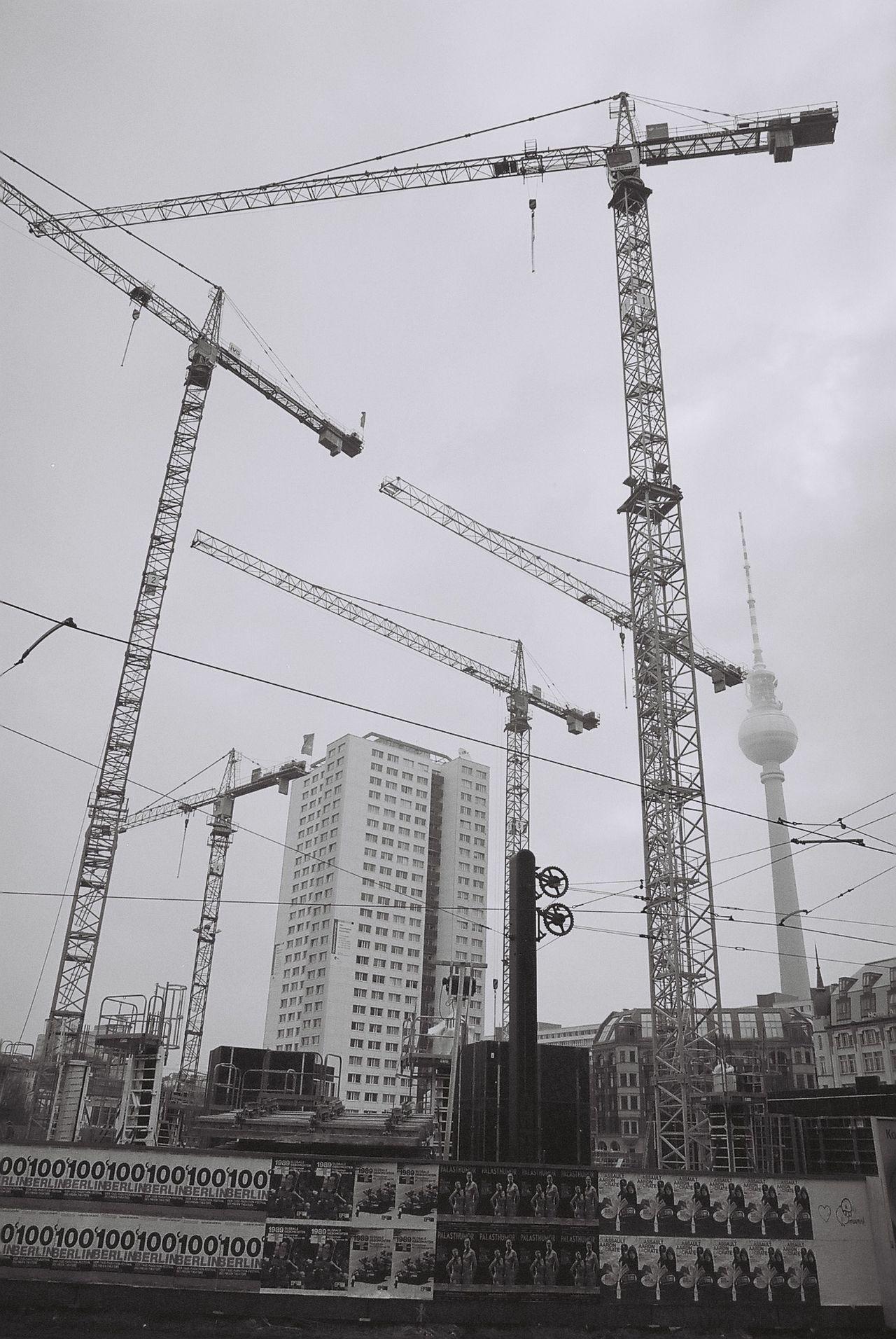 Architecture Building Exterior Built Structure Capture Berlin City Construction Day Development Electricity  Electricity Pylon Low Angle View Metal No People Outdoors Power Line  Sky