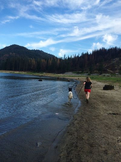 Summer Dogs Mountains Lake Running I Love My Dog IPhoneography Landscape Exploring English Setter This was Bart's first time at a lake! He had a blast chasing the birds! This is me running with him. My mom, Ranee Johnson took the photo.