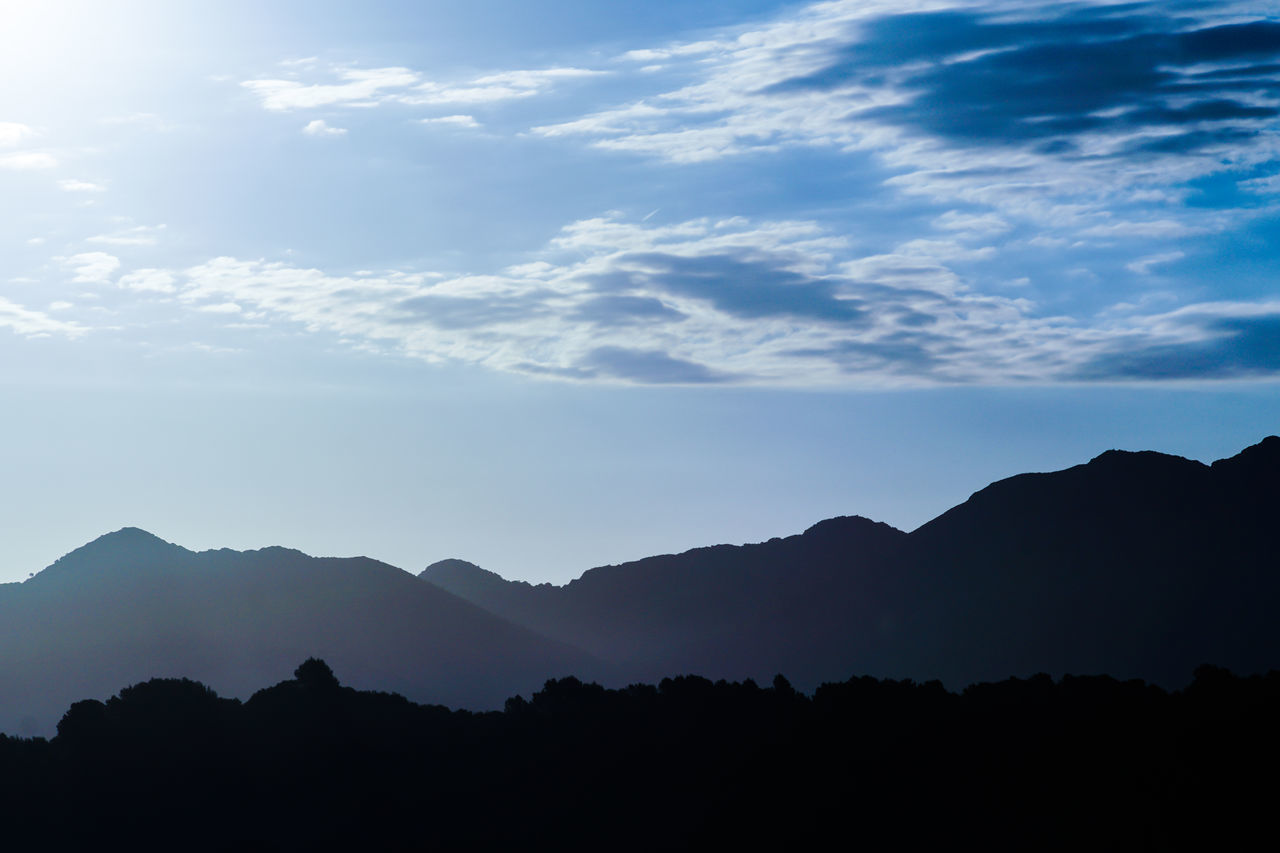 Beauty In Nature Blue Cloud - Sky Day Landscape Mountain Mountain Range Nature No People Outdoors Scenics Silhouette Sky Sunrise Sunrise_Collection The Great Outdoors - 2017 EyeEm Awards Tranquil Scene Tranquility Tree