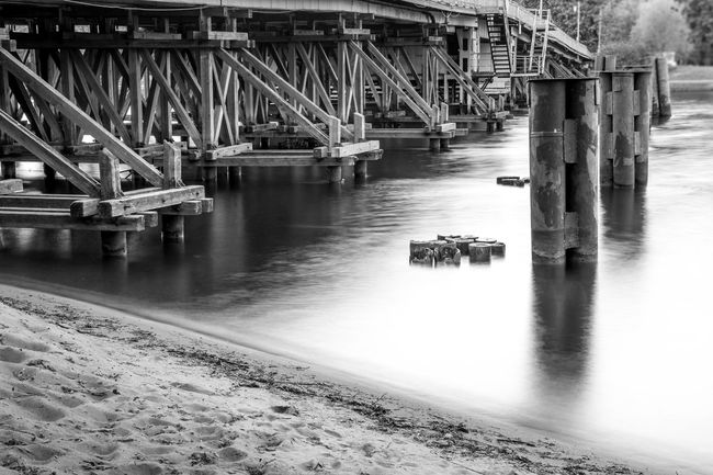 The crossing Bridge Built Structure Elagin Island Journey River Spb Water White And Black