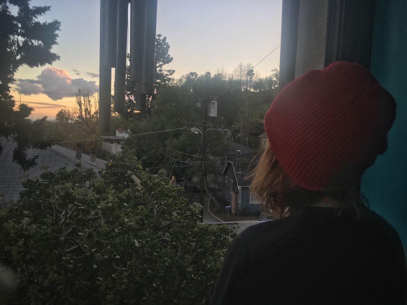 Sunset Rear View Real People Tree One Person Knit Hat Outdoors Lifestyles Day People Cityscape Wind Chimes Porch Watching Nature Calm Twilight Los Ángeles Los Angeles, California Jade Plant Palm Tree California Beanie Woman Lesbian