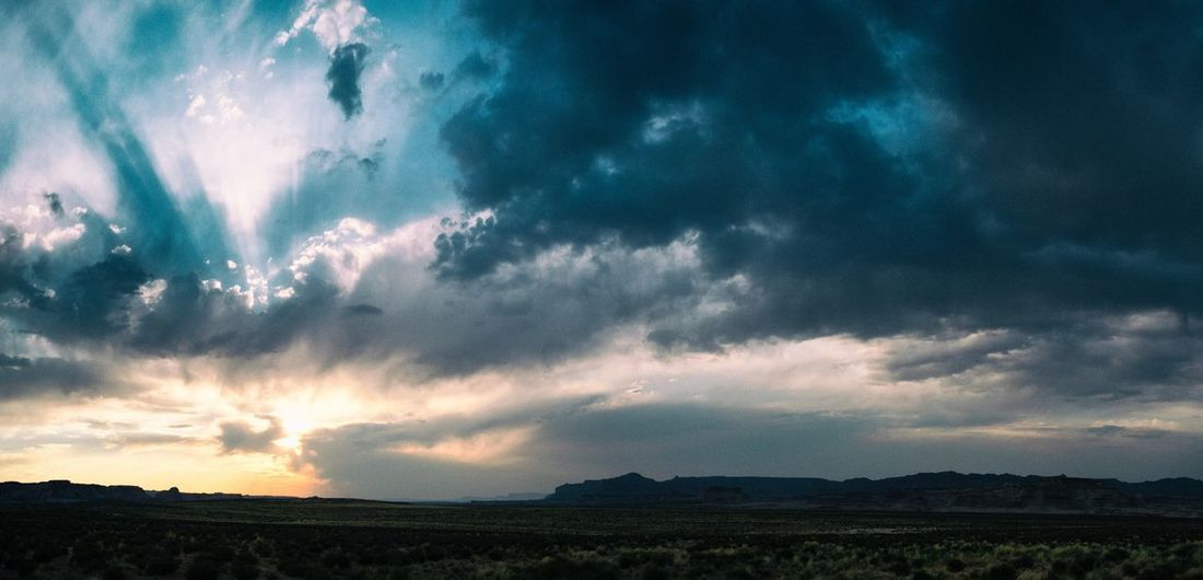 sunset in arizona Arizona Arizona Sky Big Sky Blue And Gold Cloud Desert Beauty In Nature Cloud - Sky Colorful Evening In The Desert Landscape Mountain Range Nature No People Outdoors Scenics Silhouette Sky Sunset Tranquil Scene Tranquility