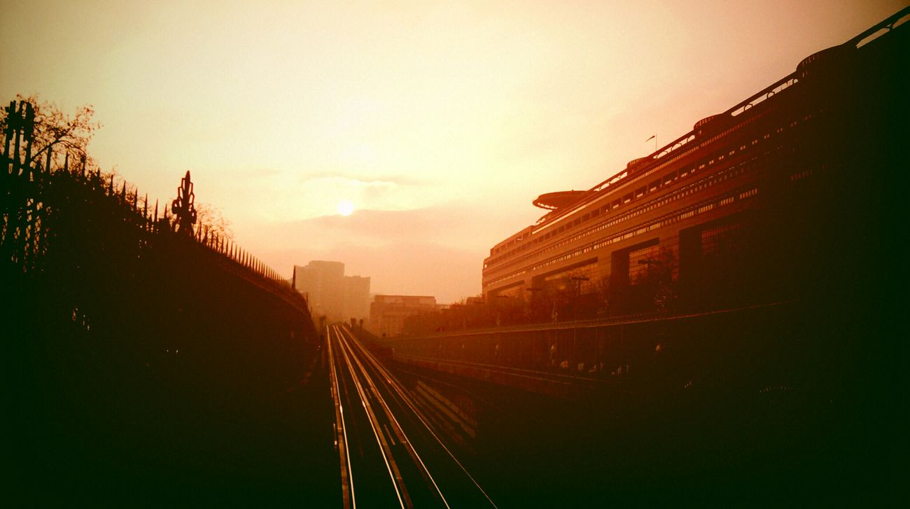 Architecture Day Outdoors Railroad Railroad Track Sunset