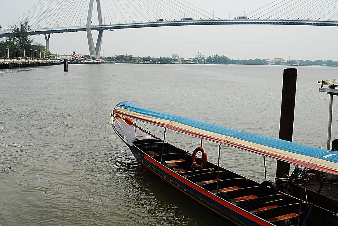Architecture Blumibol Bridg Bridge - Man Made Structure Chowphaya River City Cityscape Day Long Tail Boat Nautical Vessel Outdoors River Suspension Bridge Travel Destinations Water สะพานภูมิพล