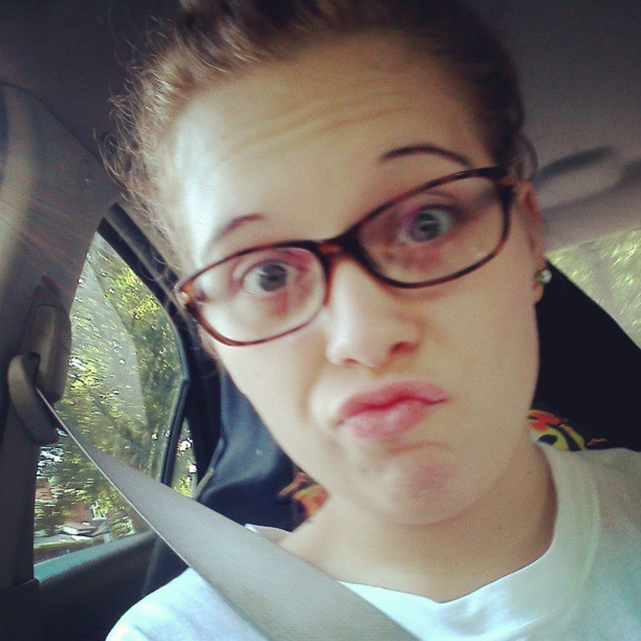 Finally decided to wear my glasses Likeag Glasses Seatbelt Car outside duckface ducklips whitepeople safety whitetee messybun summer ridin 2013 happy doubletap tap for likes cute beautiful