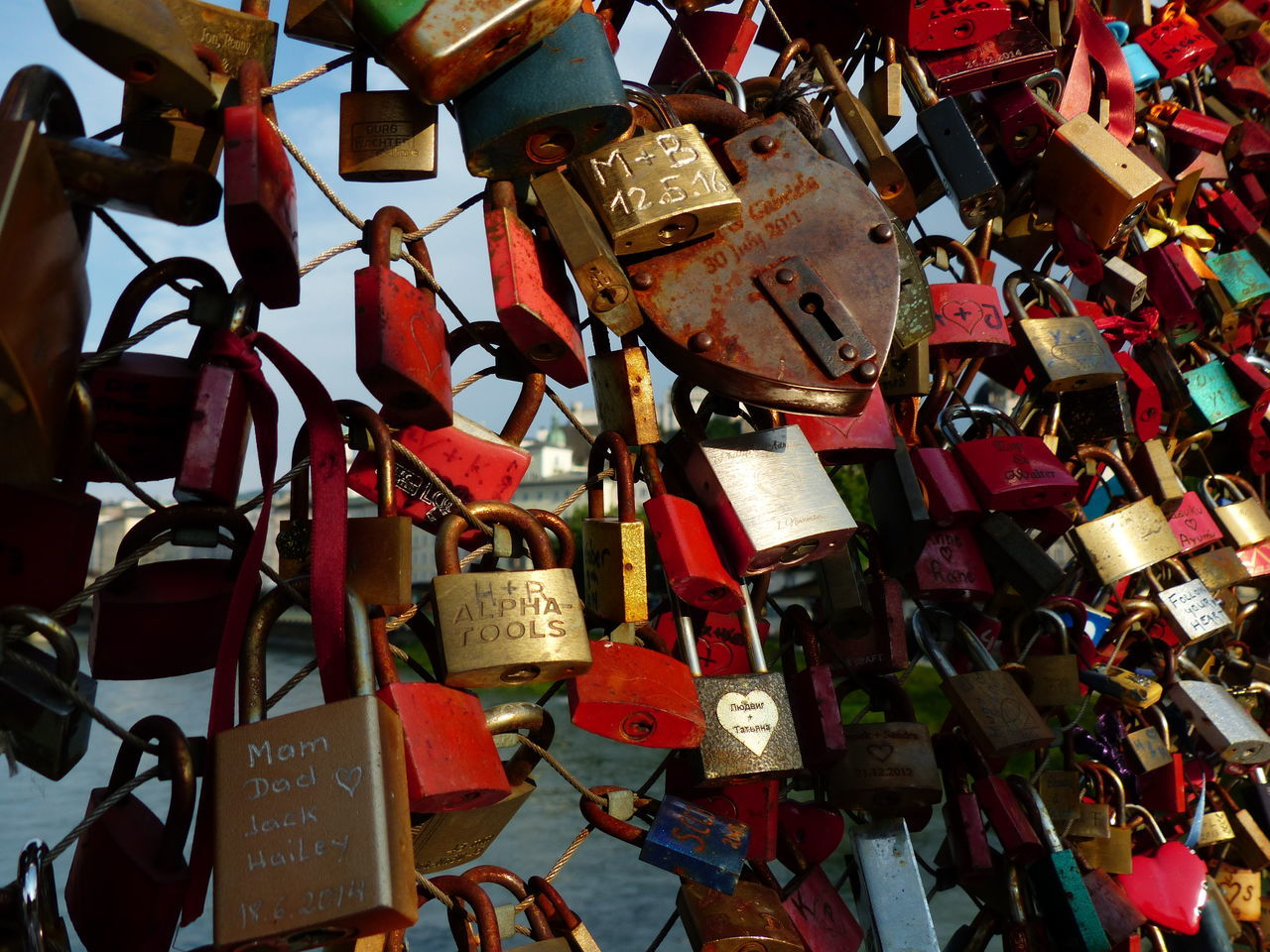 Abundance Backgrounds Close-up Day Freedom Full Frame Hope - Concept Large Group Of Objects Lock Love Love Lock Metal Multi Colored No Filter, No Edit, Just Photography No People Padlock Protection Railing Text Tourism Travel Travel Destinations Trust Variation