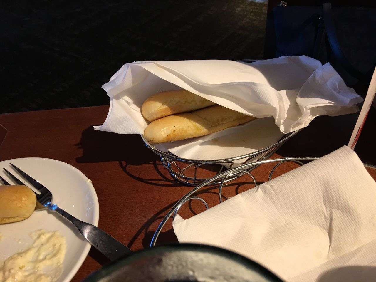 Last 2 breadsticks...... Food Bread Lunch Restaurant Table Olive Garden Freshness High Angle View Food And Drink Plate Ready-to-eat Day Indoors
