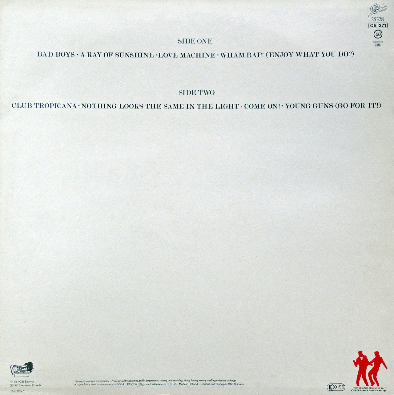 Wham! LP 'Fantastic', gramophone record back side, George Michael & Andrew Ridgeley 1983. 1983. Album Andrew Ridgeley Charts Fantastic George Michael Gramophone Record In Memoriam LP Music Musician Pop Popular Singer  Songwriter Stars WHAM!