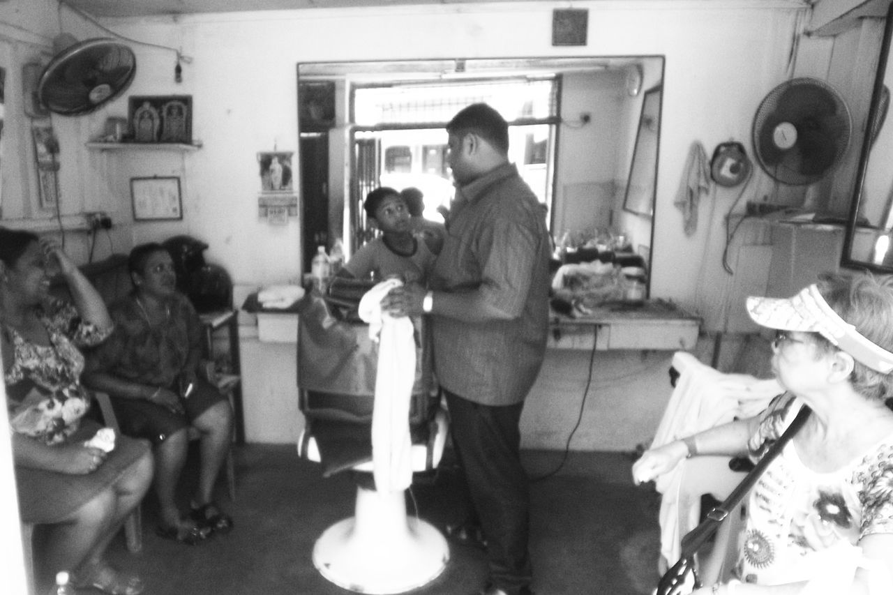 Black And White Photography Blackandwhite Full Length Haircut Time Indoors  Old Barber Shop Real People Standing Street Photography Streetphoto_bw The Street Photographer - 2017 EyeEm Awards Wearethestreet