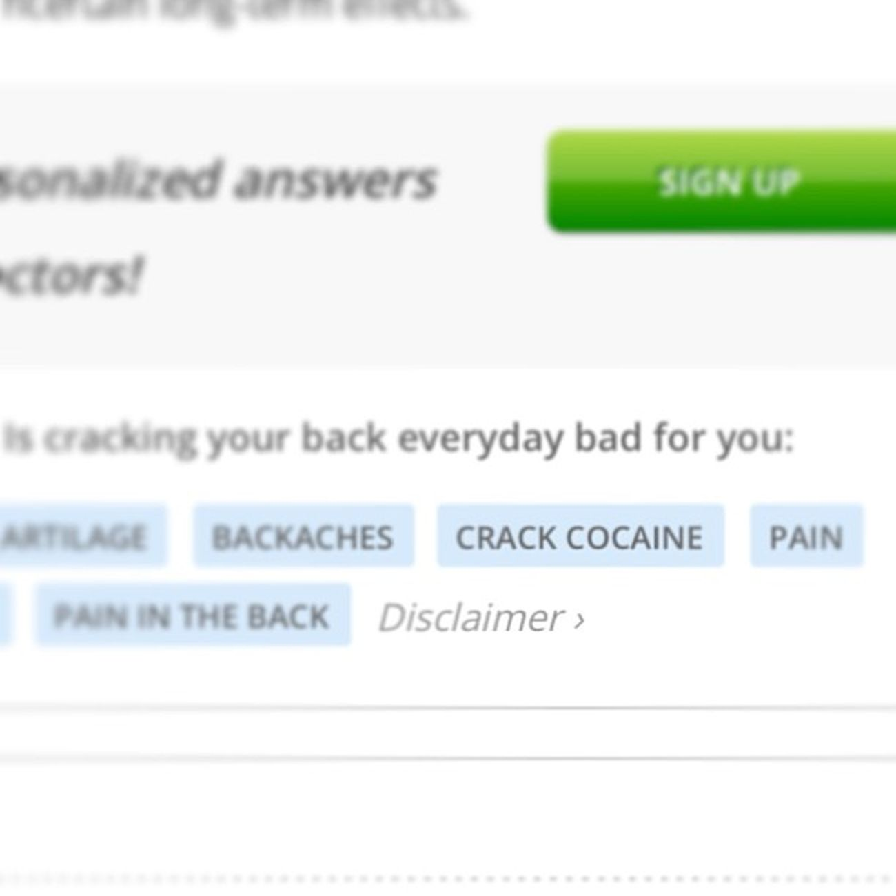 Hahaha omg why is this a answer? Crackcocaine  BackCracking