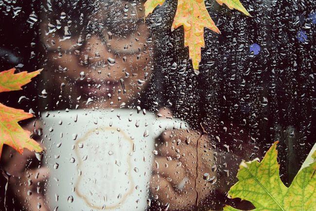 Treat yo self....say's the mug. Window Rain Autumn Person Bokeh Photography EyeEm Getting Inspired EyeEm Best Shots Glass - Material