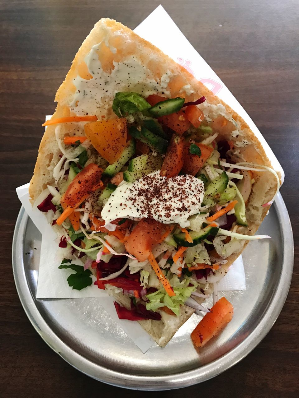 High Angle View Of Fresh Doner Kebab Served In Plate On Table